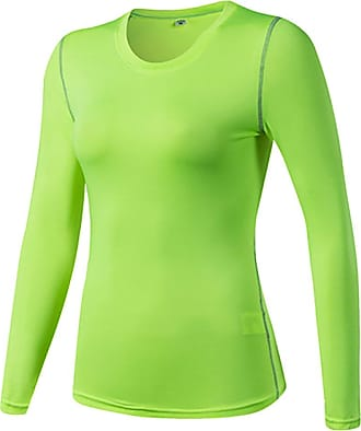 YiJee Womens Slim Sports Shirts Fitness Running Top Long Sleeves Compression Green XL
