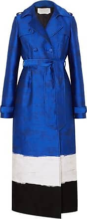 Gabriela Hearst Ceuta Metallic Striped Cotton-blend Jacquard Trench Coat - Blue