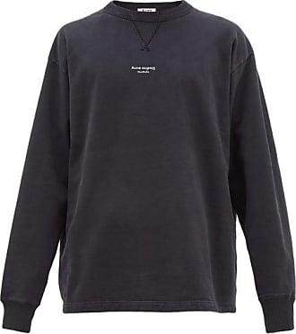 Acne Studios Fin Logo-print Cotton Sweatshirt - Mens - Black