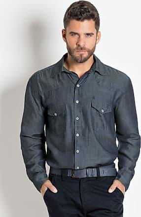 Moda Pop Camisa Jeans Grafite com Manga Longa e Bolsos 0c6f7030f3ddc