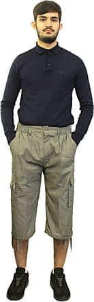 Saute Styles Mens Elasticated Waist Gym Cotton Cargo Combat 3/4 Long Knee Length Shorts Pants Khaki XXXL