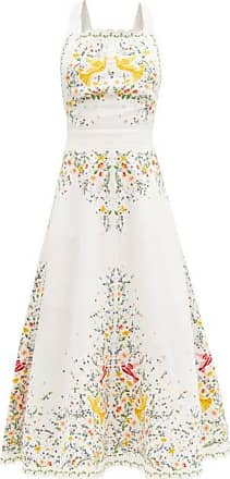 Zimmermann Carnaby Floral-embroidered Linen Midi Dress - Womens - White Multi