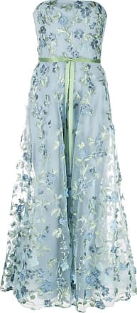 Marchesa floral embroidered strapless gown - Blue