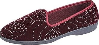 Zedzzz Ladies Womens Slip On Slippers Red Wine Velour Diamante (Numeric_8)