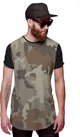 Di Nuevo Camiseta Longline Bege Camuflada Exército Exclusiva