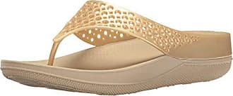 FitFlop Womens Ringer Welljelly Flip Flop, Gold, 6 M US