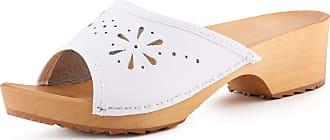Ladeheid Women´s Wood Shoes Clogs House Shoes LAFA040 (White, 39 EU = 6 UK)