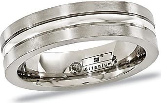Zales Edward Mirell Mens 6.0mm Center Stripe Wedding Band in Titanium and Sterling Silver