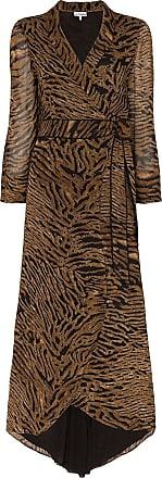 Ganni Vestido envelope com animal print - Marrom
