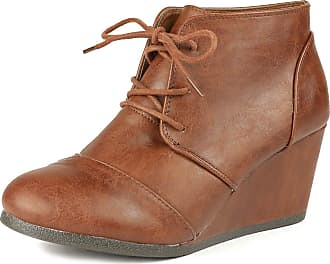 Dream Pairs Tomson Womens Casual Fashion Outdoor Lace Up Low Wedge Heel Booties Shoes Tan PU Size 9.5 M US / 7.5 UK