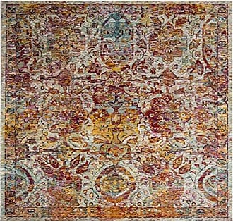 Safavieh Crystal Collection CRS505A Light Blue and Orange Bohemian Distressed Area Rug (7 Square)