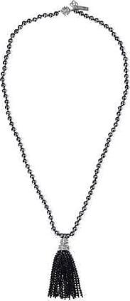 Oscar De La Renta Oscar De La Renta Woman Tasseled Silver-tone, Faux Pearl And Crystal Necklace Black Size