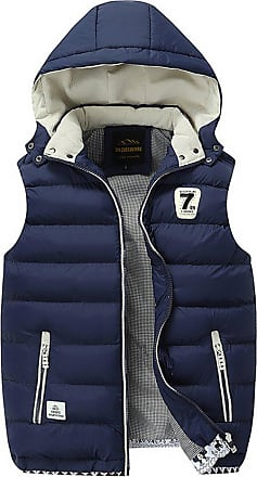 ZongSen Body Warmers for Mens Gilet Padded Jacket Coat Vest Lightweight Gilets with Inner Pockets Dark Blue XXL