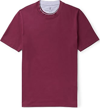 Brunello Cucinelli Slim-fit Layered Cotton-jersey T-shirt - Plum