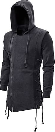Hellomiko Mens Gothic Solid Color Creative Hoodie Dark Japanese Style Fake Two Piece Jacket Gray