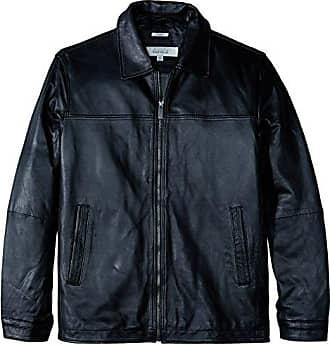 Perry Ellis Mens Size Tall Lamb Leather Classic Jacket, Black, 4XT