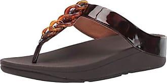 FitFlop Womens FINO Tortoiseshell Chain Flip-Flop Chocolate Brown Turtle 10 M US