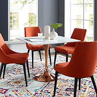 ModWay EEI-3221-ROS-WHI Lippa 36 Square Dining Table, Rose Gold Base