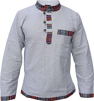 Gheri Mens Hemp Cotton Ethnic Border Grandad Shirt Pocket Grey XXX-Large