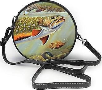 Turfed Brook Trout Fly Fishing Print Fashion Round PU Crossbody Handbag Round Shoulder Bag For Women Girls