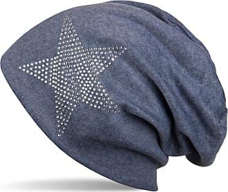 styleBREAKER Warm Beanie hat with Star Rhinestone Application, Unisex 04024023, Color:Denim Blue