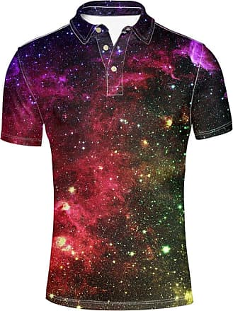 Hugs Idea Galaxy Funky Mens Sport Shirt Slim Fit Summer Breathable Short Sleeves 3 Button T-Shirt
