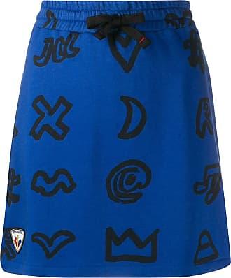 Rossignol x JCC scribbled symbol cotton blend skirt - Blue