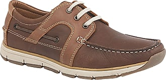 Roamers Mens Roamers Leather 3 Eye Apron Moccasin Leisure Lace Up Shoes - Brown Leather, Mens UK 12 / EU 46