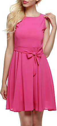 Zeagoo Women Summer Chiffon Casual Sleeveless A-line Pleated Party Dress (XX-Large, Rose Red)