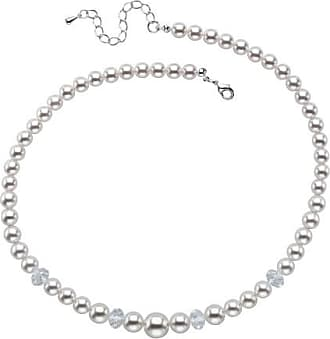 PalmBeach Jewelry Round Simulated Pearl and Bead Single Strand Necklace in Silvertone 15-17