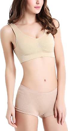 Abetteric Sutiã Abetteric feminino confortável elástico liso colete médio sutiã ajustável, Skin Color, XX-Large