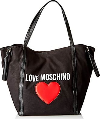 41073def41 Love Moschino Borsa Canvas E Pebble Pu, Mano Donna, (Nero), 20x32x46