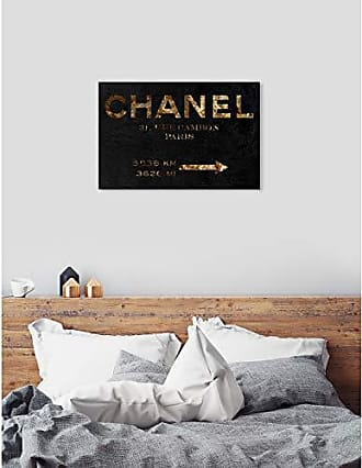 The Oliver Gal Artist Co. The Oliver Gal Artist Co. Oliver Gal Road Sign Black and Gold Fashion Wall Art Print Premium Canvas 45 x 30