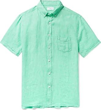 Onia Jack Button-down Collar Slub Linen Shirt - Mint