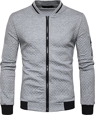 Whatlees Mens Fashion Casual Solid Zip Up Elastic Sleeve Slim Quilted Bomber Jacket with Pockets Lightgrey 02020002XLightgrey+L