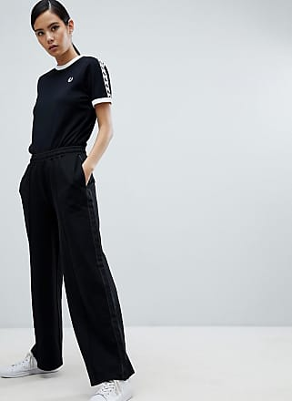 Fred Perry Wide leg Tracksuit Pant-Black