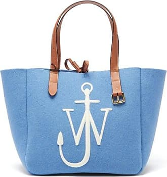 J.W.Anderson Belt Embroidered-anchor Wool-felt Tote Bag - Womens - Blue
