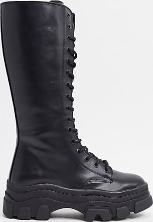 Bershka high lace up boots with track sole in black