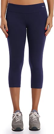 Wingslove Wingslove Women Cotton Active Workout Athletic Capris Mid Rise Running Legging Yoga Pants (3/4-Navy Blue,M)