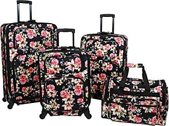 World Traveler 4-Piece Rolling Expandable Spinner Luggage Set-Rose Lily