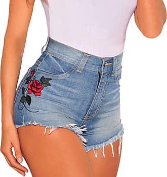 QIYUN.Z Womens Flower Embroidery Denim Jeans Shorts Ladies High Waisted Tassel Hot Shorts Blue