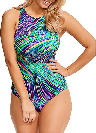 Figleaves Womens Festival High Neck Swimsuit Size 16 in Multiwave