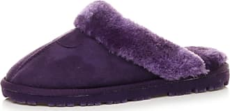 Ajvani Womens Ladies Grip Sole Comfort Winter Fur Lined Mules Slippers Scuffs Size 5 38 Purple