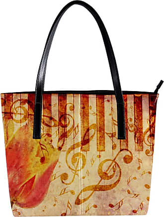 Nananma Womens Bag Shoulder Tote handbag with Vintage Grunge Background with Tulip and Music Notes Print Zipper Purse PU Leather Top-handle Zip Bags
