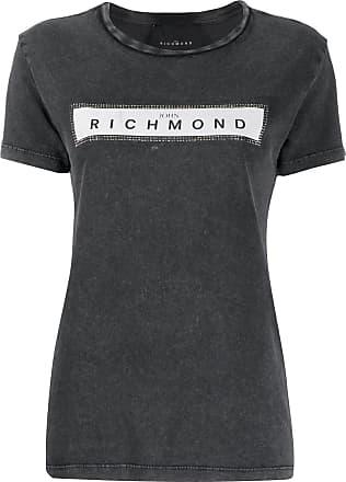 John Richmond Camiseta decote careca com estampa do logo - Cinza