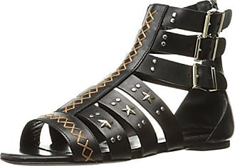 Just Cavalli Womens Cow LTH with Studs Gladiator Sandal, Black, 38 EU/8 M US