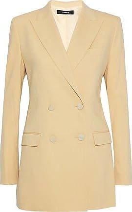 76488f5618a6 Theory Theory Woman Double-breasted Wool-blend Blazer Beige Size 10