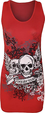 Crazy Girls Red Olives Ladies Girls Sleeveless 3 Skulls Forever Young Printed Casual Vest Tee Top