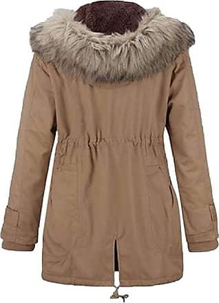 VITryst Womens Warm Drawstring Waist Long Sleeve Casual Hooded Thicken Jackets Overcoats Tops,Khaki,X-Small