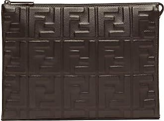 Fendi Ff Logo-embossed Leather Pouch - Mens - Brown